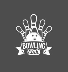 bowling emblem label badge and designe elements vector image