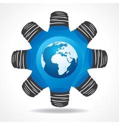 Light-bulb with earth vector