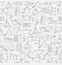 seamless pattern with kitchenware and vector image
