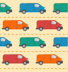 seamless pattern with minivan cars vector image vector image