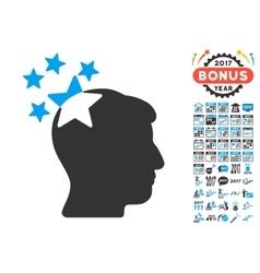 Stars Hit Head Icon With 2017 Year Bonus vector image vector image