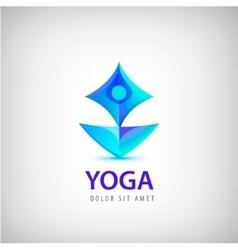 Stylized human yoga shape Logo Man sitting Lotus vector image vector image
