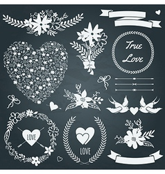 wedding set with bouquets birds hearts arrows vector image