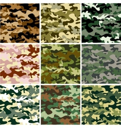 9 Set of camouflage pattern vector image vector image
