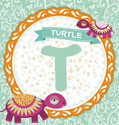 ABC animals T is turtle Childrens english alphabet vector image