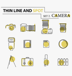 camera icons and camera accessories icons vector image vector image