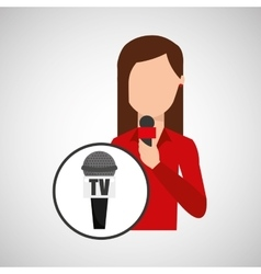 character woman reporter news microphone tv vector image