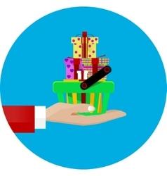 hand giving a shopping basket vector image vector image