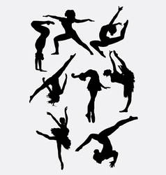 Traditional and modern dance silhouette vector image