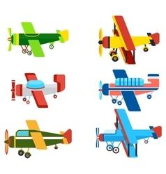 Vintage Airplanes Cartoon Models Collection vector image vector image