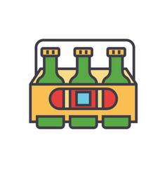 3 beers flat line concept vector image
