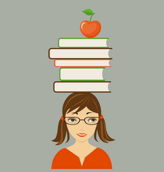 Pretty girl with books on the head vector