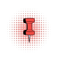 Red push pin comics icon vector image vector image