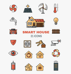 set line art icons of the smart home vector image