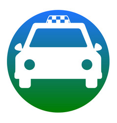 taxi sign white icon in vector image