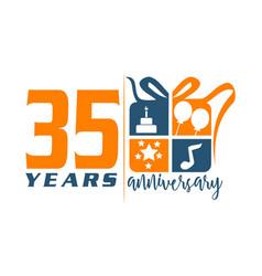 35 year gift box ribbon anniversa vector