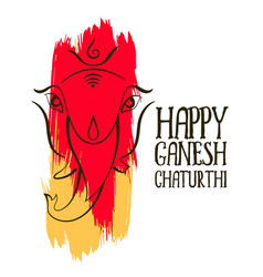 Abstract style ganesh ji design with paint stroke vector