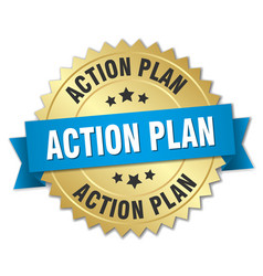 action plan round isolated gold badge vector image