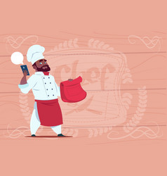 African american chef cook holding packet vector