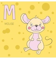 Alphabet letter M mouse children vector image