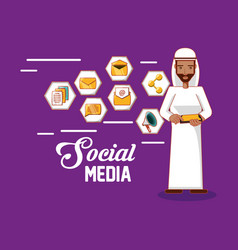arab man standing holding smartphone social media vector image