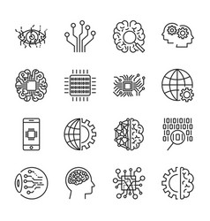Artificial intelligence icon set vector