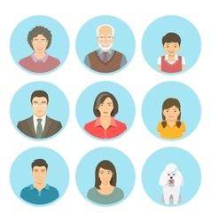 Asian family faces flat avatars set vector