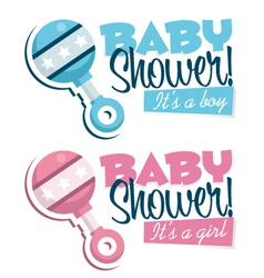 Baby shower invitations with rattles vector