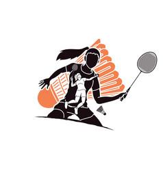 Badminton players cartoon sport graphic vector