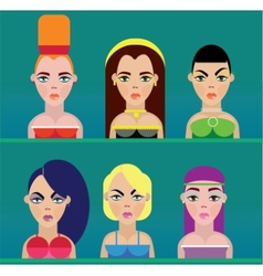 Beautiful women faces vector image