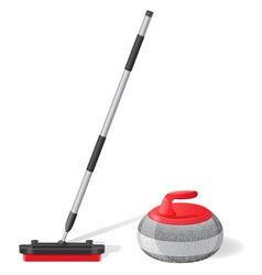 Broom and stone for curling vector