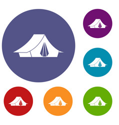 Camping tent icons set vector