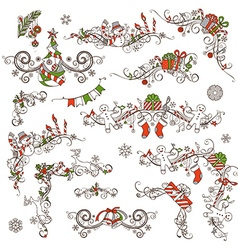 Christmas calligraphic page decorations and vector