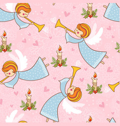 christmas seamless pattern with angels playing the vector image