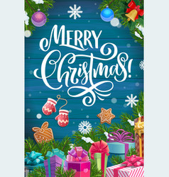 christmas tree with xmas gifts on wood background vector image
