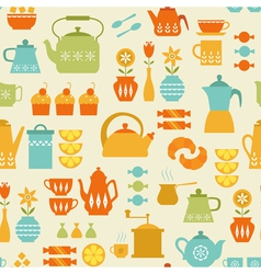 Coffee and tea pattern vector