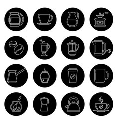 Coffee thin line icons set in black and vector