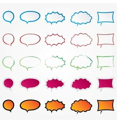 Colorful comic speech bubbles set collection vector image