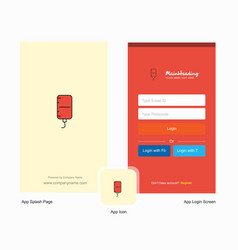Company blood bottle splash screen and login page vector