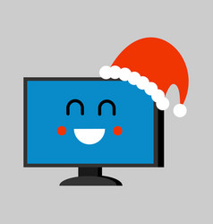 computer santa claus emoji merry pc red santa hat vector image