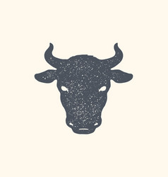 cow bull vintage retro print poster banner vector image