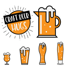 Craft beer mugs vector