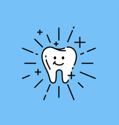 cute clean tooth icon vector image