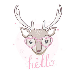 cute deer with little bird for kids fashion vector image