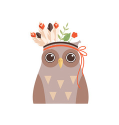 cute owl bird wearing headdress with feathers vector image
