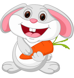 cute rabbit cartoon holds carrot vector image