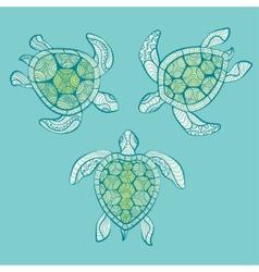 Decorative turtles in water vector
