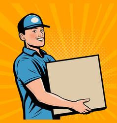 Delivery person worker delivered box retro comic vector