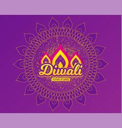 Diwali festival greeting card hindu festival vector