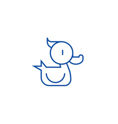 Duck toy line icon concept duck toy flat vector
